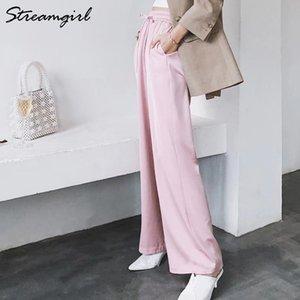 StreamGirl Summer Summer Gamba Pantaloni per le donne Pantaloni ad alta vita in raso largo pantaloni casual donna rossa pantaloni estate formale donna formale 210319