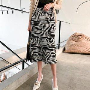 Skirts Autumn Winter Women 2021 Sexy Straight Knitted Long Black Pencil Skirt Back Split High Waist Ladies Elegant