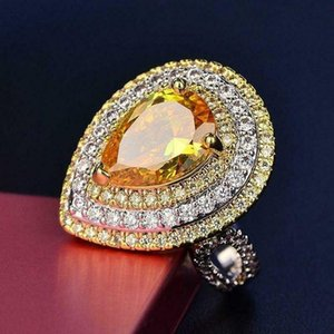 Cluster Rings Hyperbole Yellow Zircon Ring For Women Wedding CZ Luxury Huge Fine Lady Engagement Jewelry