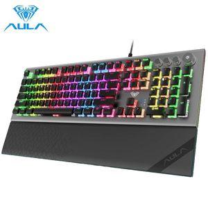 Mechanical Gaming Keyboard 104 Floating-Keys Magnetic Light Bar Wrist Rest Plus 4 Media Control Knob Buttons Keyboards