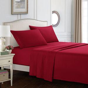 Çarşaf Yastık Kılıfı Yatak Kapak Set Katı Renk Yatak Üç Dört Parça Setleri Mikrofiber Leke Dayanıklı Çarşaf