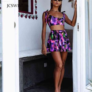 Summer Jcswim High Waist Swimwear 3 Pieces Bikini with Skirt Print Retro Swimsuit Female Beachwear Swimming Suit for Women