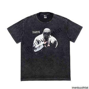 2021 Tide Brand Dark High Street T-shirt Kanye Printing Washing Water Used Short Sleeve Men and Women Leisure Couple Half