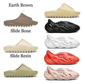 2021 슬라이드 슬라이드 슬라이퍼 폼 러너 사막 모래 트리플 블랙 뼈 흰색 수지 슬라이드 샌들 망 슬리퍼 A01