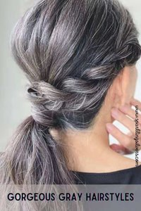 Gorgeous gray hairstyle Salt n pepper grey wavy pony tail hair piece braided natural grays real hairs extension clip in ponytails hairpiece120g 140g 1pcs