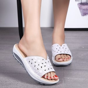 Large summer new sandals printed cow leather women's slippers thick soled slope heel student beach shoes