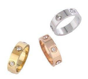 Kajia 티타늄 스틸 슬롯 당일 다이아몬드 색인 손가락 커플 쌍 반지 패션 18K 로즈 골드 팔찌