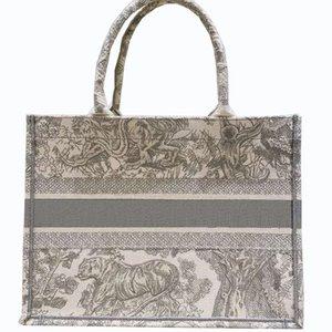 2021 grande capacidade de compras designer de luxo bordado padrão de tigre animal