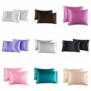 20 * 30 inç Saten Yastık Evi Renkli Buz Ipek Yastık Kılıfı Çift Yüz Zarf