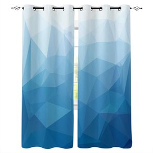 Curtain & Drapes Triangle Color Block Blue Gradient Window Treatments Curtains Valance Room Large Living Bedroom