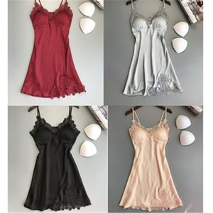 2021 Sleepwear Women Night Dress for Summer Sexy Sling V Neck Hollow Out Solid Color Homewear Fashion Women Pyjama Soie Femme