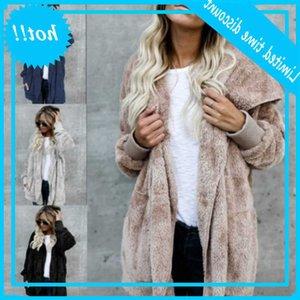 Faux manteau Femmes 2020 Automne hiver chaud doux fourrure veste de fourrure d'extérieur peluche peluche poche cardigan avec capuche
