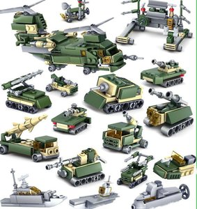 Military Tank Army Figures Troops Armored Car Building Blocks Sets DIY Bricks Helicopter Aircraft Model Education Assemble Kids Toys 04