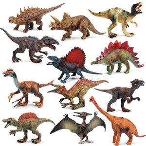 12 teile / satz Große Größe Dinosaurier Jurassic Wild Life Modell Spielzeug Set Action Figure Dinosaurier Kinder Simulation Spielzeug für Jungen Geschenk 210730