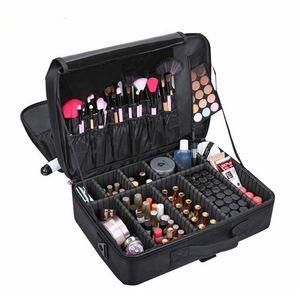 품질 전문 메이크업 케이스 여성 아름다움 네일 박스 화장품 케이스 여행 대형 수용량 저장 부대 가방 메이크업 210322
