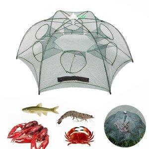 4-16 fori Automatic Fishing Net Pesce Trappola Cast Gamberetti Gabbia Nylon Pieghevole Pieghevole Pieghevole Accessori di Goccia