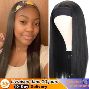 Long Straight Heat Ristant Synthetic Women's Headband Black Brown Mix Color Hair Wigs For Women Daily Use