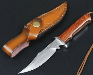 High Quality Survival Straight Knife 440C Satin Drop Bowie Blade Full Tang Hardwood Handle Outdoor Fixed Blades Hunting Knives With Leather Sheath