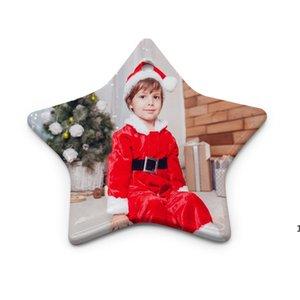 Blank Bianco Sublimazione Pendente in ceramica Creativo Ornamenti natalizi di natale Trasferimento di calore Stampa FAI DA TE Ornamento ceramico Geardia rotonda ZZF8739