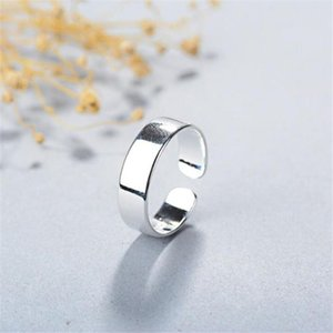 Cluster Rings Season Gate 925 Sterling Silver Classic Simple Flat Round Adjustable Size Open Ring For Women Girls SR049