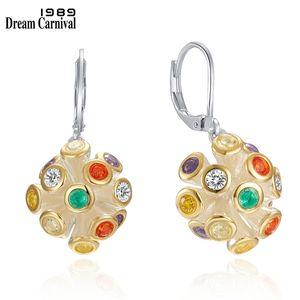 DreamCarnival1989 New Rainbow Color Zircon Earrings for Women Multi-Colors Hanging Dangle Earings Female Jewelry Hot Pick WE3983 210317