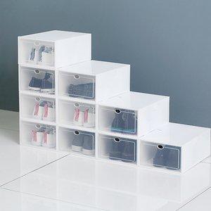 واضح متعدد الألوان صناديق تخزين الأحذية طوي البلاستيك الشفاف المنظم المنظم تكديس عرض التركيبة التركيبة حاويات مربع مجلس الوزراء