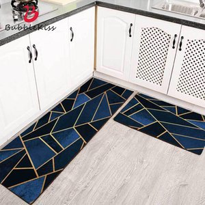 Carpets Bubble Kiss Kitchen Mat Blue Geometry Long Strip Home Decor Floor Rugs Modern Living Room Area Carpet Custom Anti Slip Foot Pads