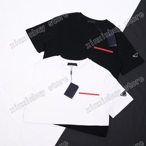 21ss men printed t shirts sleeve triangle letters clothes mens tag letter polo Black white Khaki