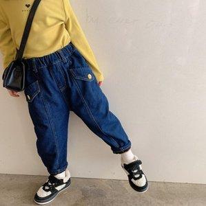 Jeans 2021 Arrival Girls Boys Denim Thicken Long Pants Winter Fashion Kids Jean 2-8 Years WD443
