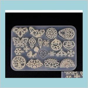 Retro Hollow Pendant Silicone Molds Clear Butterfly Earring Pendant Uv Resin Mold Multi Patterns Jewelry Making Craft Mould Vwqim Qe73M