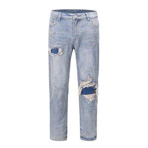 Kapital Same High White Men's Street Red Ear Beaded Leg Jeans