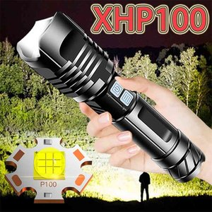 Super Bright Xhp100 Powerful Led Flashlight Torch Xhp90 Tactical Flashlight Usb Rechargeable Flash Light 18650 Xhp70 Led Lantern 201204