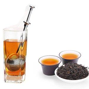 Чай ситечко шарикового толчка чайных игр Свободные листья травяные чайные ложки фильтр Фильтр диффузора домашний кухонный бар пьющий вил из нержавеющей связи S DWD5771