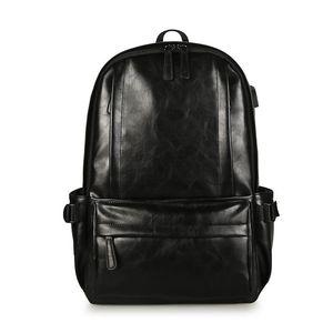Backpack Fashion Men USB Genuine Leather Travel Bag Man Large Capacity Teenager Male Mochila Laptop Backpacks