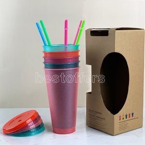 Multi 24oz Flash Powder Shiny Reusable Plastic Tumbler With Lid And Straw Cup Eco-friendly Non-toxic Drink Mug Kitchen Drinkware FY4493
