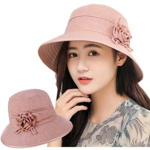 قبعات الشمس للنساء الصيف دلو قبعة واسعة بريم مكافحة الأشعة فوق البنفسجية قبعات بلون بوب العظام في الهواء الطلق كاب الصيد AD289