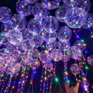 Inch Luminous Led Balloon Air Balloon String Lights Colorful Transparent Round Bubble Kids Toy Wedding Party Christmas Decor