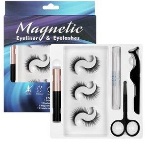 2021 quality Eye MAKEUP 3 Pairs 7 Magnet Magnetic False Eyelashes with Liquid Eyeliner and Tweezers Kit Reusable No Glue Needed