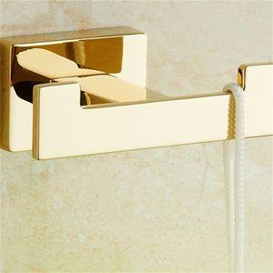 Gold Towel Hook Copper Double Coat Hook Zinc Alloy Gold Finish Wall Hanger Towel Bathroom Robe for Accessories 378 R2