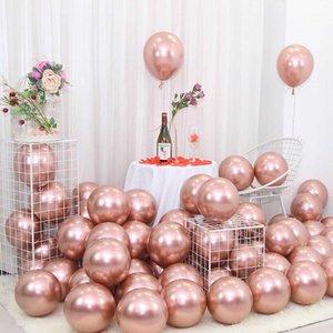 25pcs Rose Gold Metal Balloon Happy Birthday Party Decoration Kids Boy Girl Adults Wedding Birthday Ballon Bride To Be Baloon Y0923