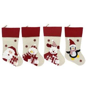 47x22cm Christmas Stocking Socks Non-woven fabric Old man snowman elk penguin Creative Santa Gift Bag Candy Dcoration Penda goods