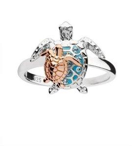 Голубое морское черепаха кольцо золотое серебряное покрытие горный хрусталь черепаха ленты ленты женщины матери кольца подарок мода ювелирные изделия 3 3HJ L2