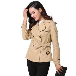 Women's Trench Coats Short Coat Women Spring Autumn Cotton Windbreaker Casual Tops Female Belt Slim Double-breasted Outerwear