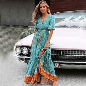 Boho ispirato Blus Floral Maxi Dress V-Neck Botton Down Pizzo Trim Primavera Dress Summer Dress Nappa Tied Vita Lunga Donne Abiti 210320