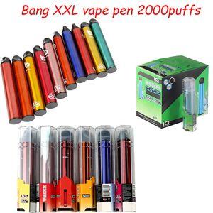 Фабрика Bang XXL одноразовые электронные сигареты Vape Pen 6ML пустые стручки 2000 Puffs Bulk DHL бесплатно VS BangXL VAGES