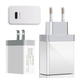 30W USB C PD FAST CARGER RÁPIDO EU EU EE. UU. EE.UU. Adaptador de alimentación de AC Tapones de cargador de pared para iPhone Samsung LG Android Phone PC MP3