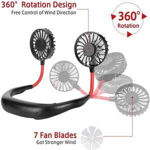 Portable LED Light USB USB Rechargeable Col Fan Col Fan De Sports Bureau De Sportif Voyage extérieur Pendaison Dual Air Cooling Sport 360 degrés