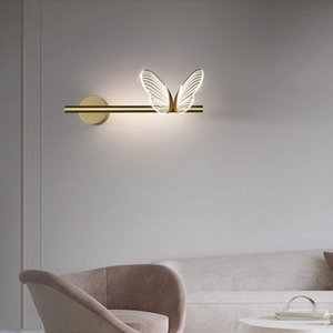 Wall Lamps Modern LED Lights Bedside Lamp Bedroom Gold Butterfly Crystal Sconce For Balcony Living Room Background Lighting