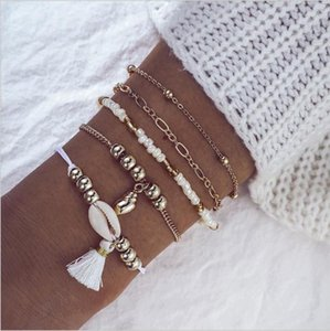 Bracelet Set Anklet 5pcs set Bead Chain Strands Tassel And Sea Snail Shell Charm Gold Color Plated Bracelets