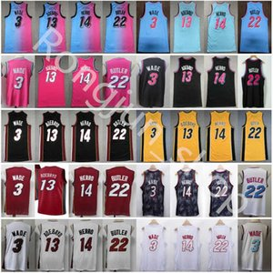 2021 Stitched Dwyane 3 Wade Basketball Jersey Jimmy 22 Butler Mens Tyler 14 Herro Bam 13 Adebayo Black White Yellow Blue Pink Jerseys shorts